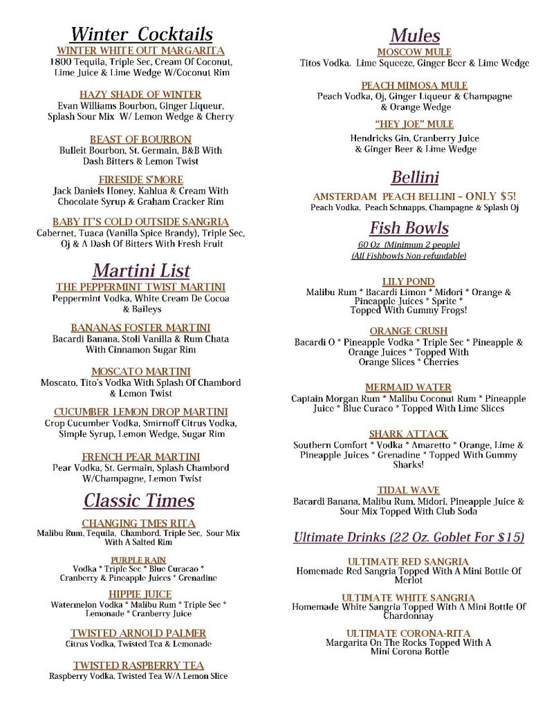 Winter Cocktails Farmingdale -